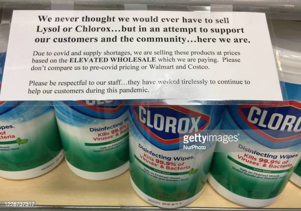 Clorox disinfectant wipes being sold at an elevated price during the novel coronavirus pandemic in Toronto, Ontario, Canada on September 24, 2020....