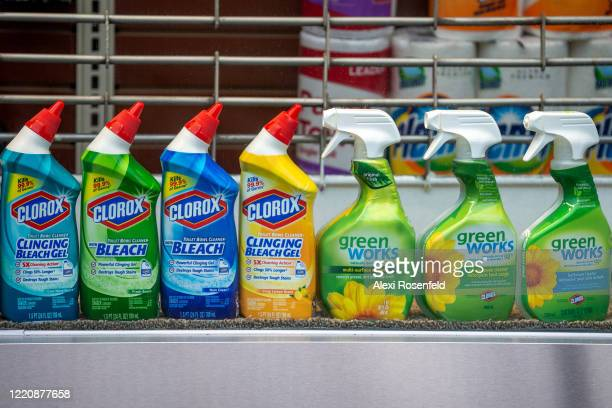 Clorox disinfecting products sit in a retail window amid the coronavirus pandemic on April 24 2020 in New York City United States COVID19 has spread...