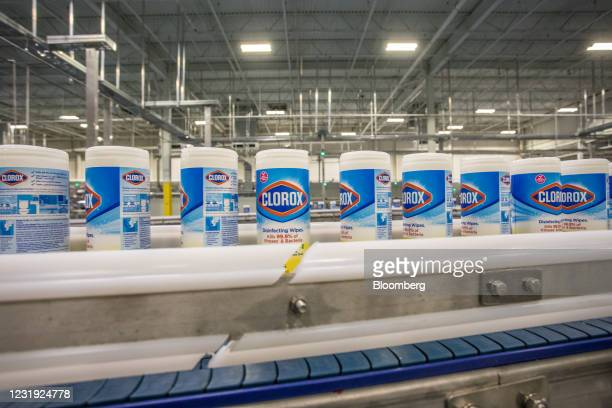 Clorox Disinfecting Wipes canisters move along a conveyor belt at the company's manufacturing facility in Forest Park, Georgia, U.S., on Wednesday...