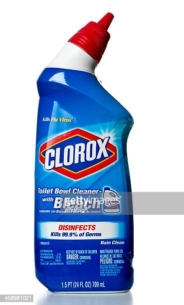 clorox toilet bowl cleaner with bleach - clorox bleach stock pictures, royalty-free photos & images