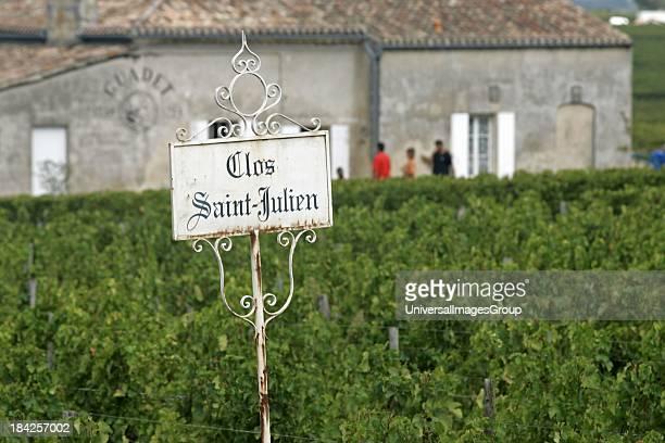 Clos St Julien sign Bordeaux vineyard town St Emilion France