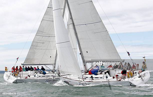 Close action in the Sunsail Match First 40 class during Aberdeen Asset Management Cowes Week Day Two on August 09 2015 in Cowes England