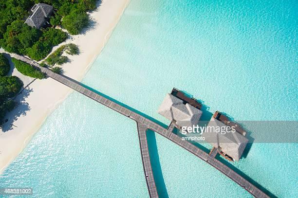 close aerial of tropical resort
