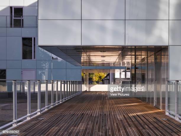 Close exterior view of walkway showing overhang. Dunluce Apartments, Ballsbridge, Ireland. Architect: Derek Tynan Architects, 2016.