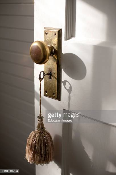 Close of door knob and key with tassel Kennebunkport ME