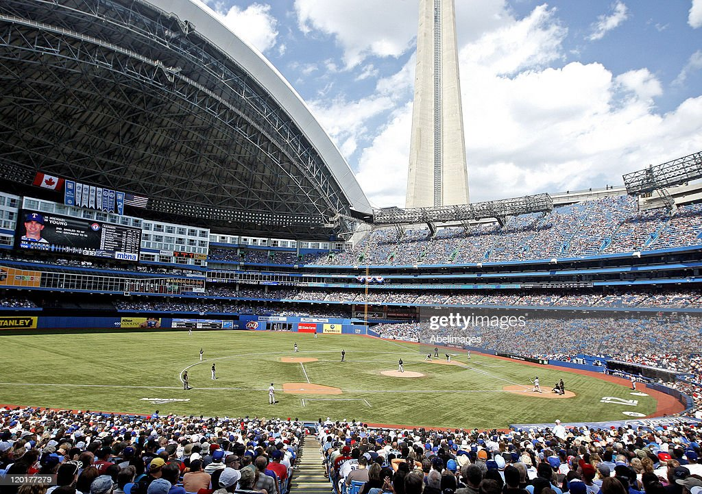 Close to 45,000 fans fill the Rogers Centre during MLB action at the Rogers Centre July 31, 2011 in Toronto, Ontario, Canada.