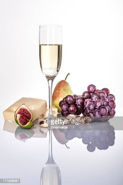 Close To French Cheese, Red Grapes,Pear and  White Wine
