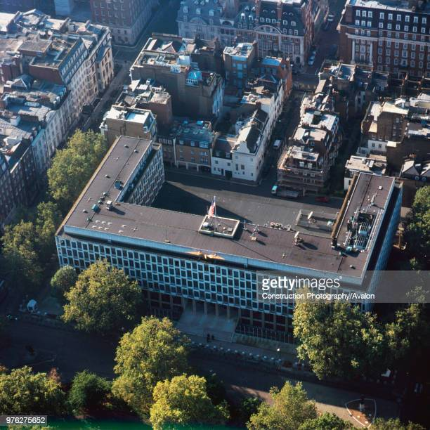 Close up aerial view of the American Embassy in London, UK.
