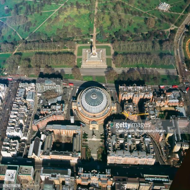Close up aerial view of the Royal Albert Hall and Kensington Gardens, London, UK.