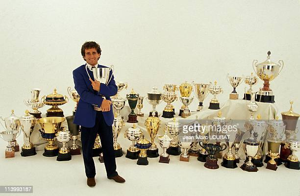 Close up Alain Prost in France in July 1993Alain Prost posing with trophies