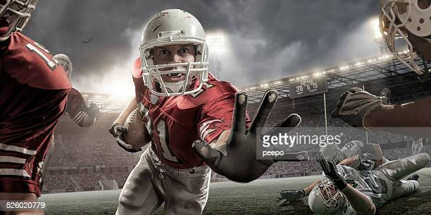close up american football action - defender soccer player stock photos and pictures