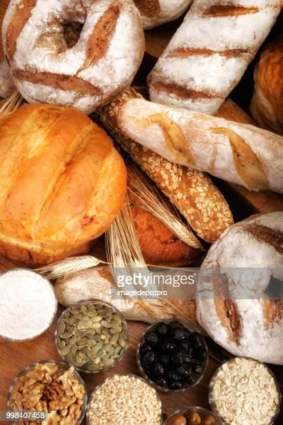 Close up assorted fresh breads arrangement