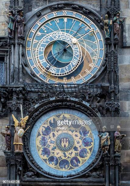 close up astronomical clock at the exterior of old town hall, prague, czech republic - historical romance stock photos and pictures