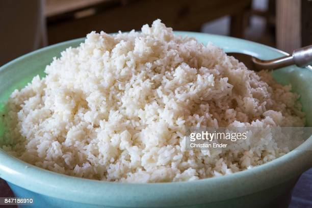 Close up at a pot filled with rice