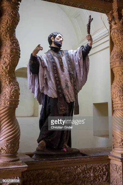 Close up at a sculpture of Francis Xavier one of the first jesuits his grave is located inside the Basilica A Unesco world cultural heritage located...