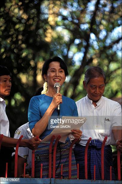 Close -up Aung San Suu Kyi in Myanmar in September, 1995.