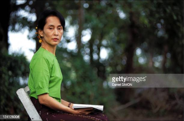 Close up Aung San Suu Kyi in Myanmar in September 1995