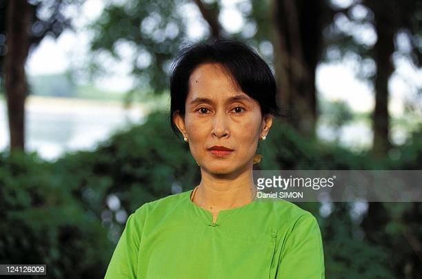 Close up Aung San Suu Kyi in Myanmar in September 1995