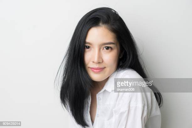 close up beautiful asian female - east asian culture stock photos and pictures
