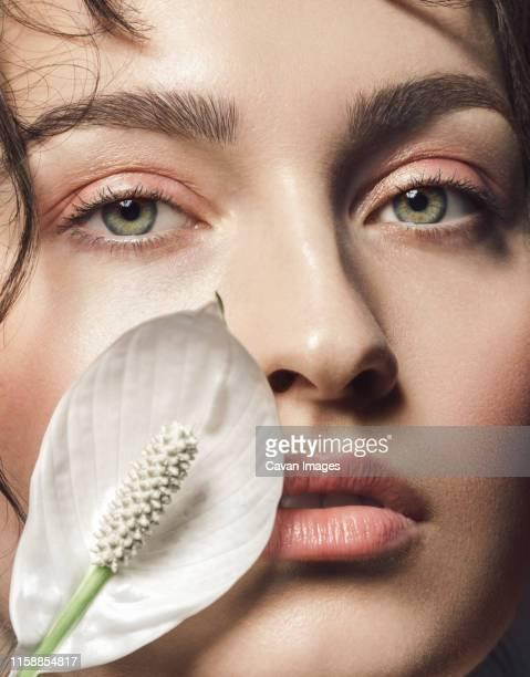 close up beauty portrait - ヌードカラー ストックフォトと画像