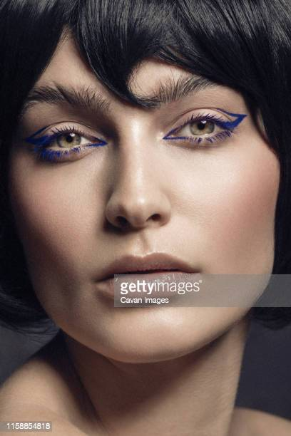 close up beauty portrait - eye liner stock pictures, royalty-free photos & images
