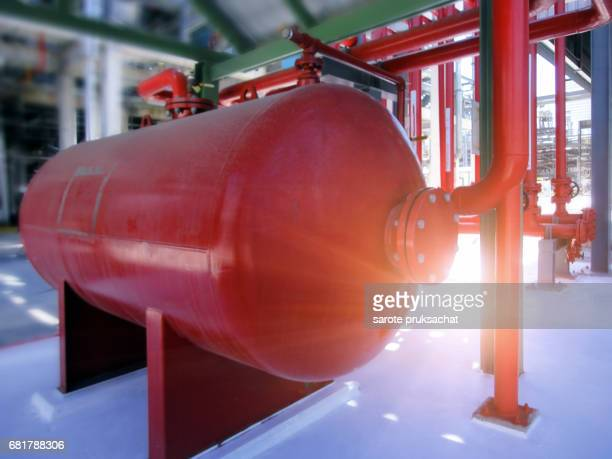 Close up bladder tank is a steel pressure vessel .