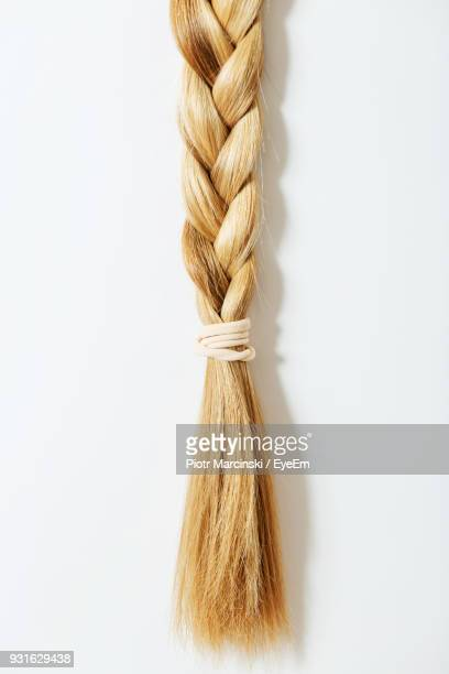 Close Up Braided Hair Against White Background
