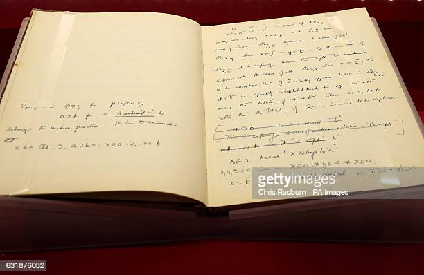 Close up detail from the notebook of Enigma codebreaker Alan Turing that belonged to the mathematician which recently sold for pound1M and has now...