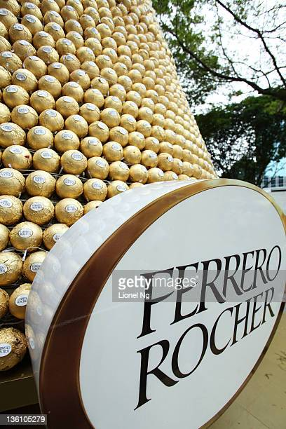 Close up detail of a christmas tree made up of Ferrero Rocher chocolates at a Orchard Road shopping mall at The Heeren on December 25 2011 in...