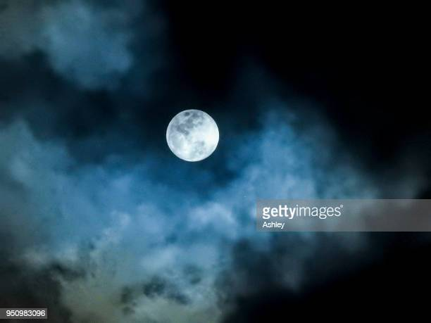 close up detail of a full moon shining through bluish clouds - pleine lune photos et images de collection