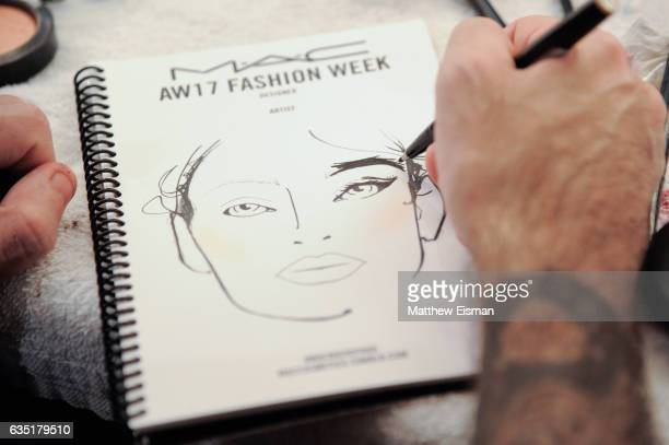 A close up detail of a makeup artist sketch at Katty Xiomara Backstage February 2017 during New York Fashion Week at Pier 59 on February 13 2017 in...