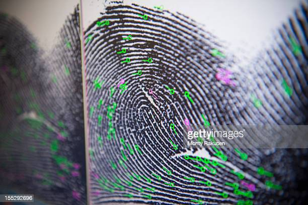 close up detail of fingerprint on screen in forensic laboratory - forense fotografías e imágenes de stock