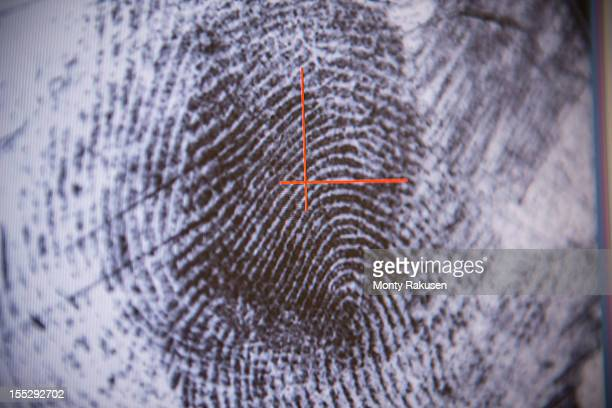 close up detail of fingerprint on screen in forensic laboratory - evidence stock pictures, royalty-free photos & images