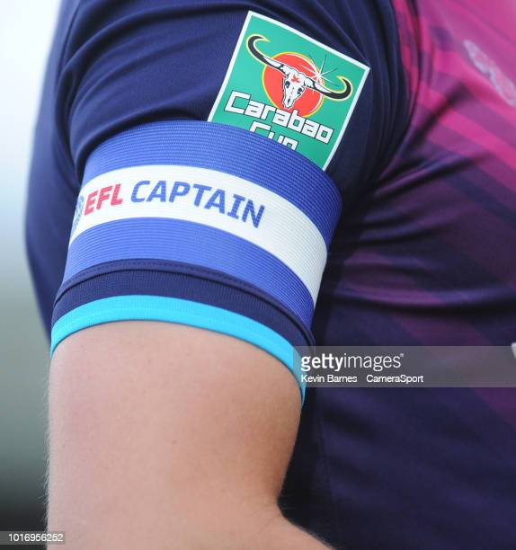 YEOVIL ENGLAND AUGUST Close up detail of the Carabao Cup badge and captain's armband on Aston Villa's Tommy Elphick's shirt during the Sky Bet League...