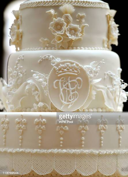 Close up detail of the eight tiered Royal Wedding cake with the initials W C made by the team at Fiona Cairns Ltd of Leicestershire made for Prince...