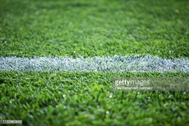 close up detail of the soccer field turf - track and field stadium stock pictures, royalty-free photos & images