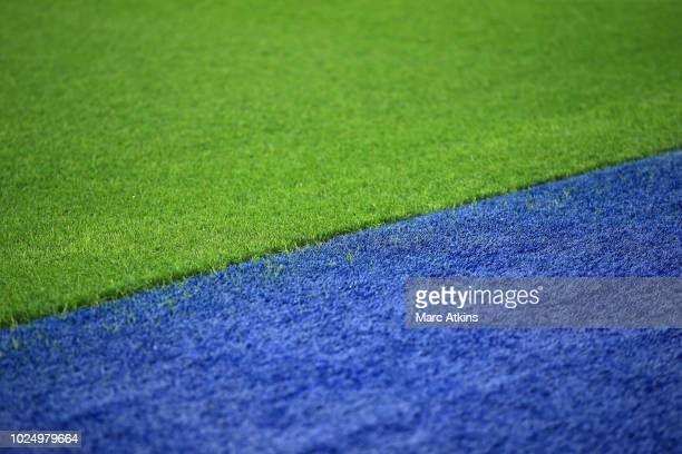 Close up detail of the synthetic grass surrounding the pitch at King Power Stadium during the Carabao Cup Second Round match between Leicester City...