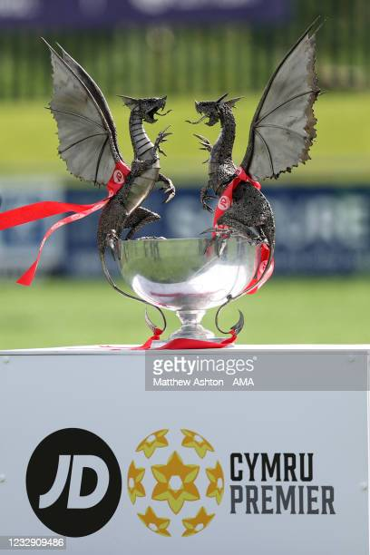 Close up detail of the Welsh / Cymru Welsh Premier trophy awarded to the champions of the league during the Cymru Welsh Premier League match between...