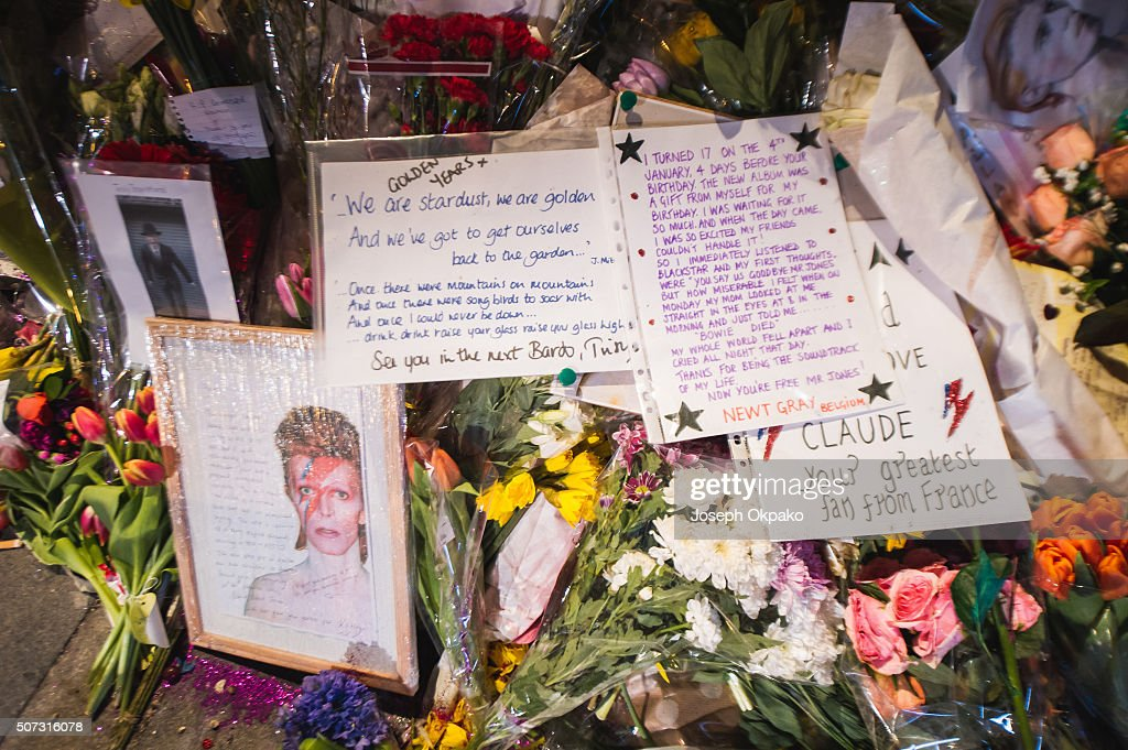 Tributes At The David Bowie Memorial Grow Two Weeks After His Death : News Photo