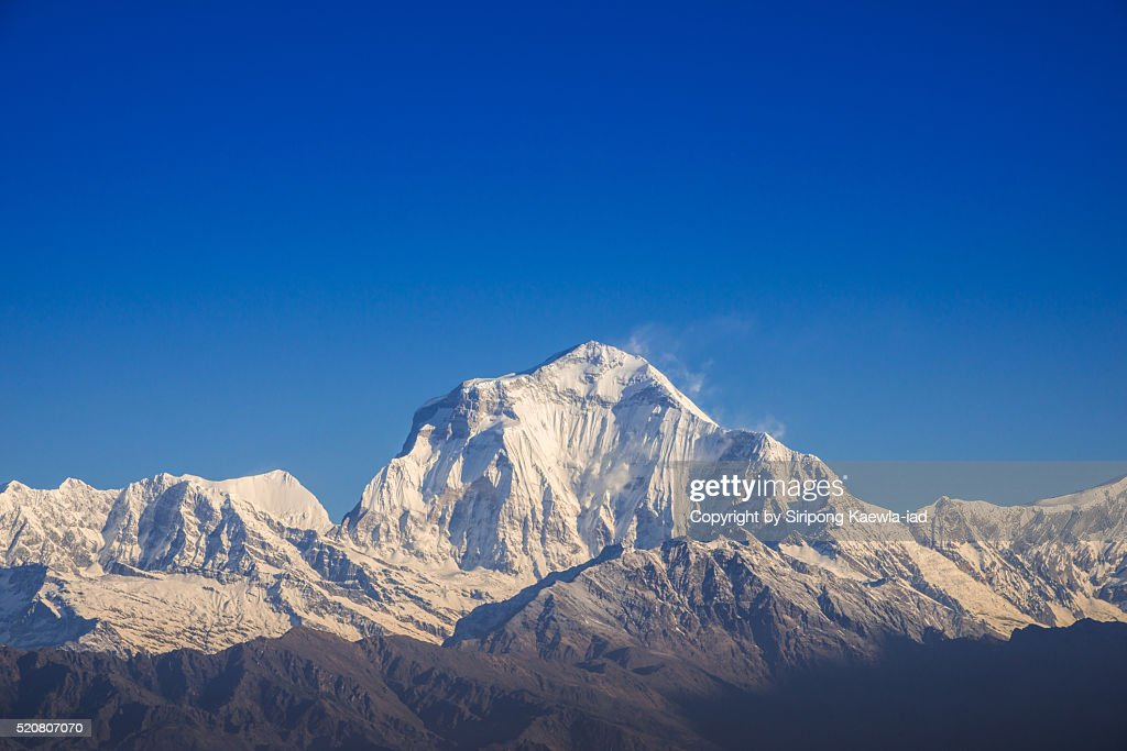 Close up Dhaulagiri mountain range with blue sky from Poon Hill viewpoint : Stock Photo