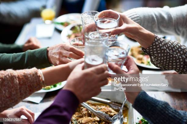 close up extended family toasting drinks at lunch - photography stock pictures, royalty-free photos & images