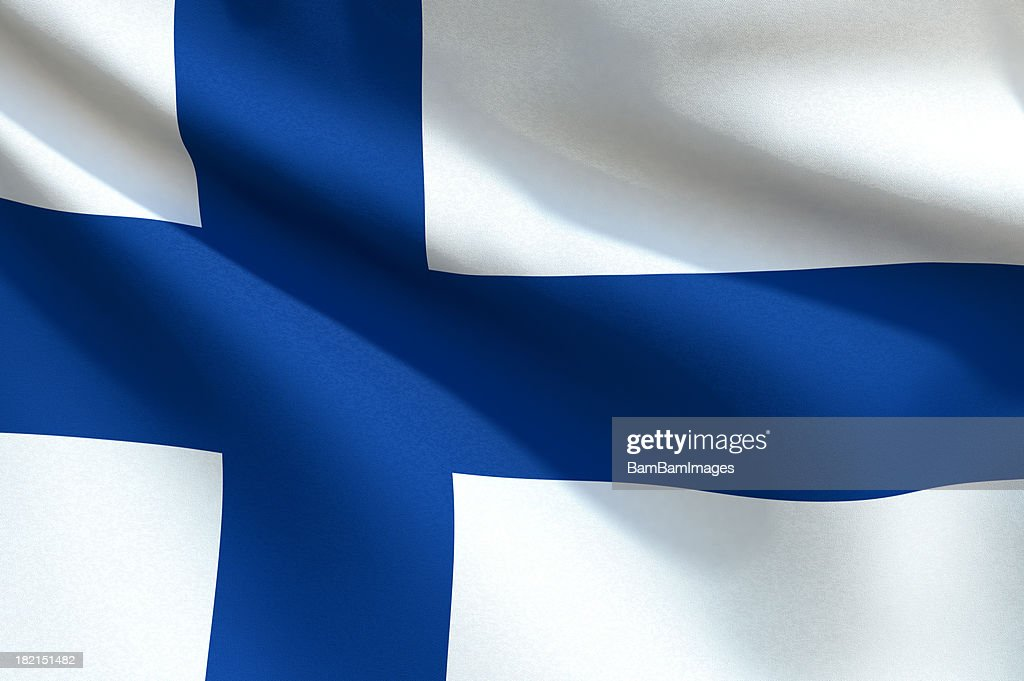 Close up Flag - Finland : Stock Photo