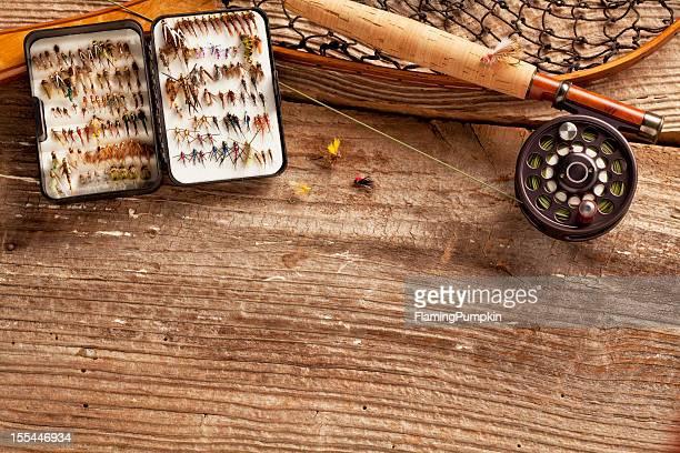Primer plano, pesca con mosca Varilla & colección de moscas, espacio de copia.