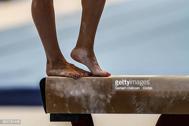 Close up footwork action on the balance beam during the Women's AllAround Final of the 44th Artistic Gymnastics World Championship in Antwerp October...