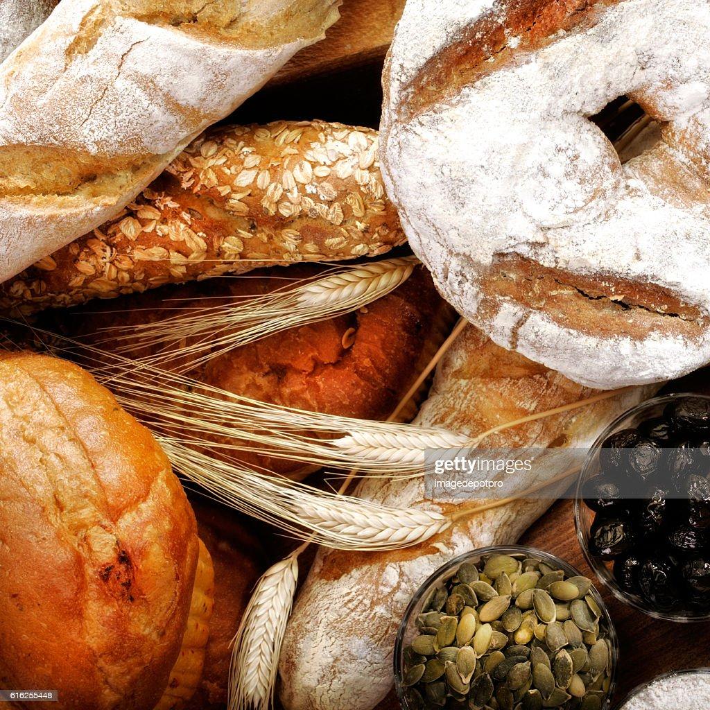 close up fresh breads : Foto de stock
