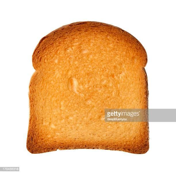 クローズアップ上から単一スライスを 2 回の焼きたてのパン、絶縁型