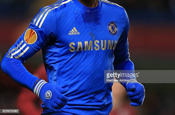 Close up general view of a Chelsea shirt with a UEFA Europa League badge on it