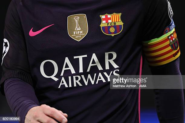 A close up general view of the Nike shirt of Lionel Messi of FC Barcelona showing the Nike tick the FIFA Club World Cup Champions badge FC Barcelona...