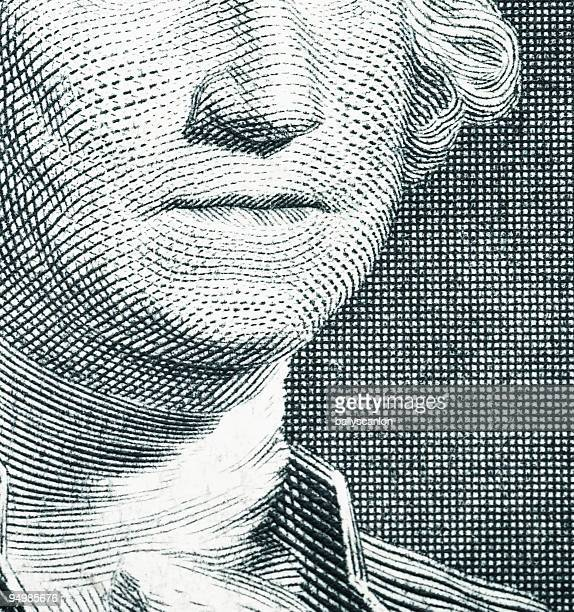 Close Up George Washington on a One Dollar Bill.