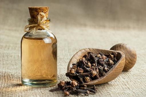 Close up glass bottle of clove oil and cloves in wooden shovel on burlap sack 1149614608